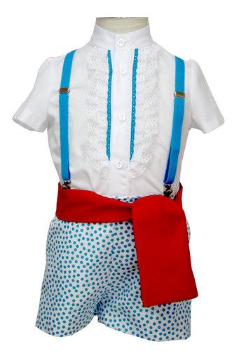 Traje de gitano pantalón popelín blanco camisa batista blanca