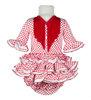 Vestido de flamenca para niña de pocos meses con braguita a juego, blanco con lunares rojos y flecos del mismo color. Manga francesa - MiBebesito