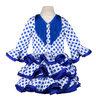 Traje de gitana flamenca para niña blanco lunar azul MiBebesito gtnn400 detrás