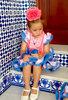 Traje de gitana para niña estampado azul gtn364 MiBebesito
