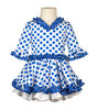 Traje de gitana flamenca para niña blanco lunar azul gtn415 MiBebesito