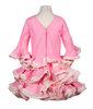 traje de flamenca de popelín rosa y beige liso con tira bordada en el talle, cuello de pico y puntilla fruncida en los volantes de mangas y falda espalda