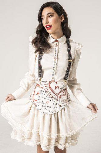 Falda tul corazones beige Masavi