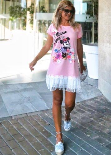 Vestido Minnie Rosa Perlas