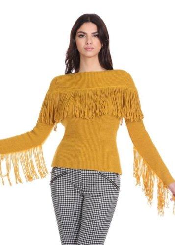 Jersey lana y alpaca Flecos Mostaza Relish