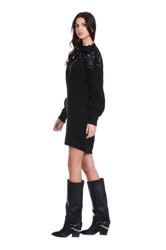 Vestido punto y lentejuelas Relish Negro