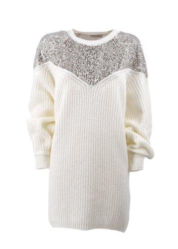 Vestido punto y lentejuelas Relish Blanco