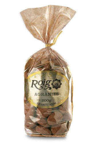 Agrànies Tradicionals (ametlles caramel·litzades amb xocolata i pols de cacau). Pes net 200g