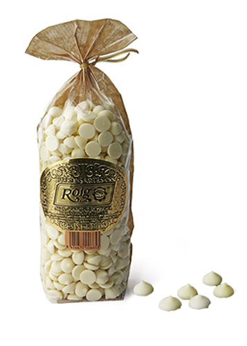 Chocolate blanco en forma de gotas (cacao mínimo 30,3%). Peso neto 200g