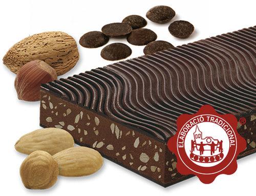 Torró de xocolata i praliné (xocolata 50%). Qualitat Suprema. Pes net 300g