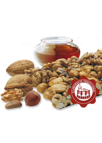Turrón de crocant con frutos secos (frutos secos 64%). Calidad Suprema. Peso neto 400g