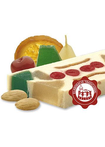 Turrón de mazapán con frutas confitadas (frutas confitadas 25%). Calidad Suprema. Peso neto 500g