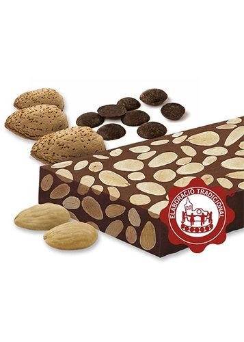 Turrón de chocolate con almendras (chocolate 55%)(almendras 45%). Calidad Suprema. Peso neto 500g