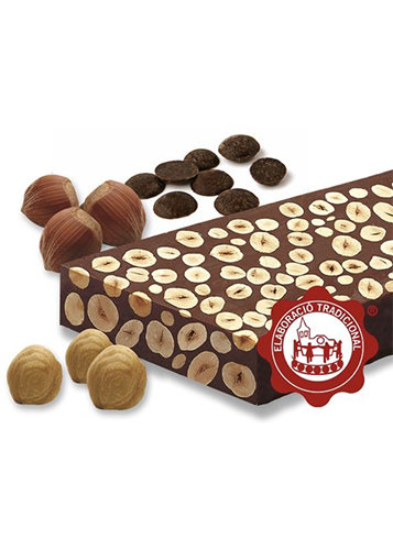 Turrón de chocolate con avellanas (chocolate 60%)(avellanas 40%). Calidad Suprema. Peso neto 300g