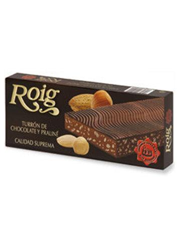Turrón de chocolate y praliné (chocolate 50%). Calidad Suprema. Peso neto 300g