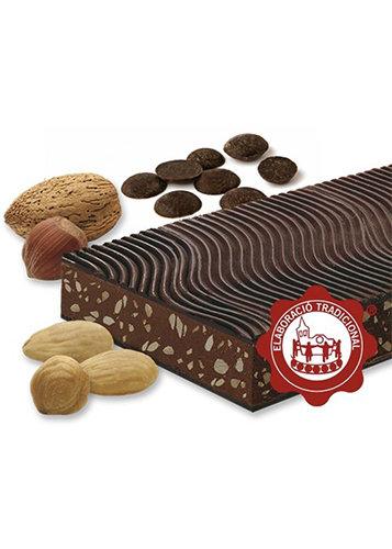 Turrón de chocolate y praliné (chocolate 50%). Calidad Suprema. Peso neto 500g