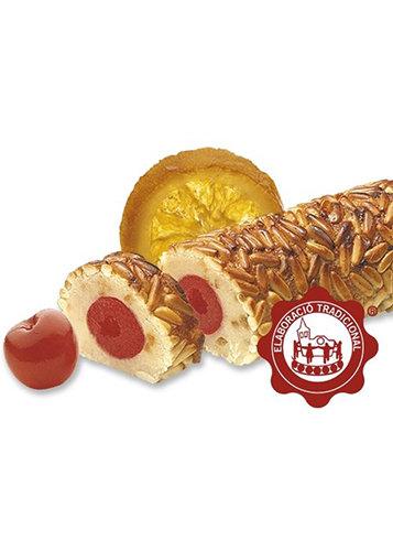 Turrón de mazapán con frutas confitadas y piñones. Calidad Suprema. Peso neto 250g