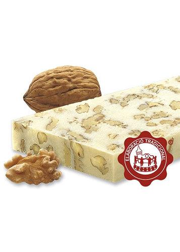 Turrón de mazapán con nueces y nata (nuez 15%) (nata 1%). Calidad Suprema. Peso neto 500g