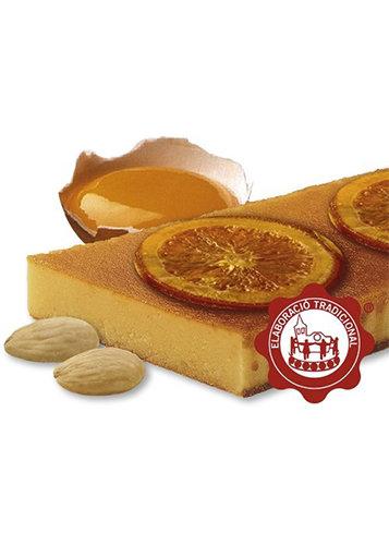 Turrón de yema tostada con naranja confitada (yema de huevo 10%)(naranja confitada 15%). Calidad Suprema. Peso neto 500g
